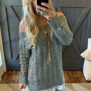 Boho Grey Open Knit Off the Shoulder Sweater